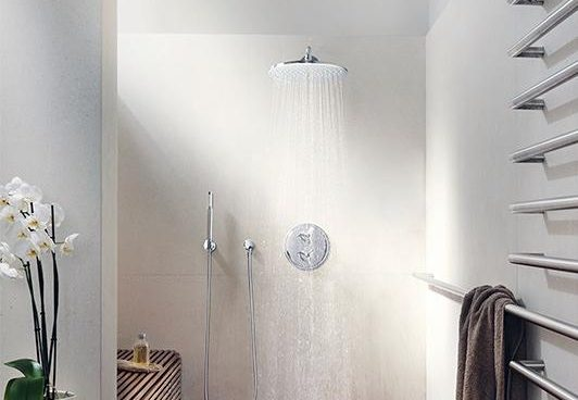 Grohe waterfall showerhead in stainless steel with temperature control for a bathroom design with bamboo floors
