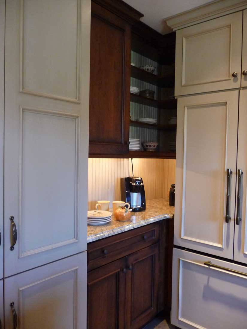 Functional Kitchen Corner with Open Shelving used for storage and a coffee prep area underneath