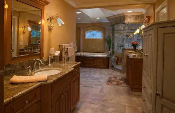 Master bathroom design showcases the talents of the homeowner himself through the use of personal touches.