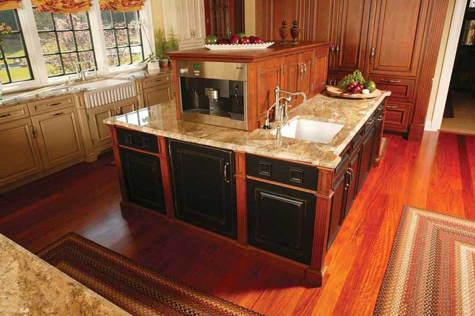 Mixing Kitchen Cabinet Colors in a Traditional Kitchen with a Functional Island with a Coffee Maker