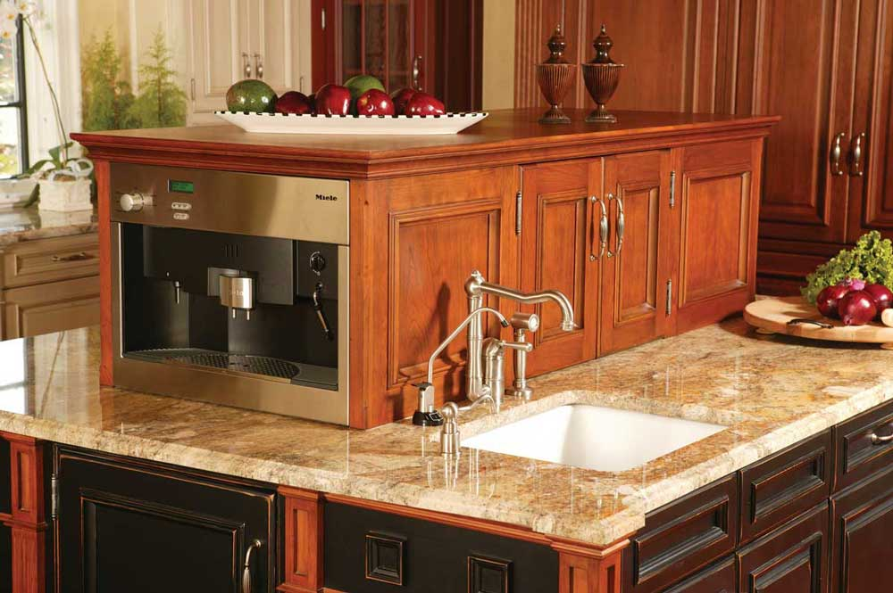 Mixing Kitchen Cabinet Colors on a multi-purpose island with Granite countertops and a custom sink.
