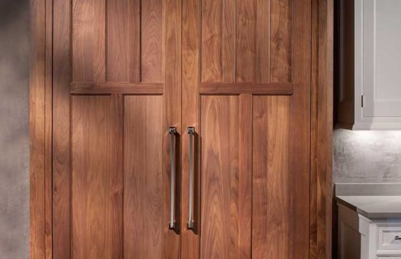 Rutt Handcrafted Custom Solid Wood Panels for Refrigerator Doors in a Traditional Kitchen Design in Delaware
