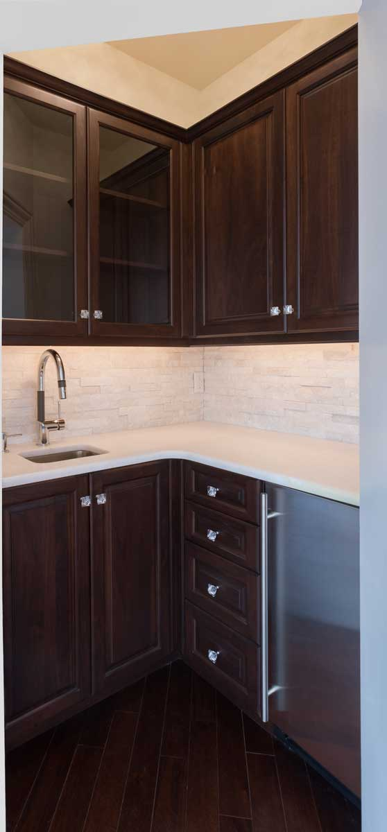 Cocoa Walnut Kitchenette for a New Construction House Project in Dover Delaware