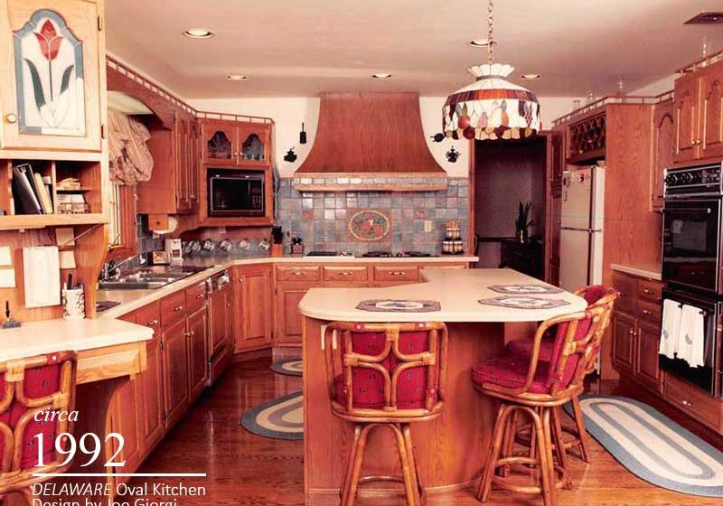 Polished and seek looking vintage kitchen cabinetry and countertop designs for stylish homeowner's during the 1990's