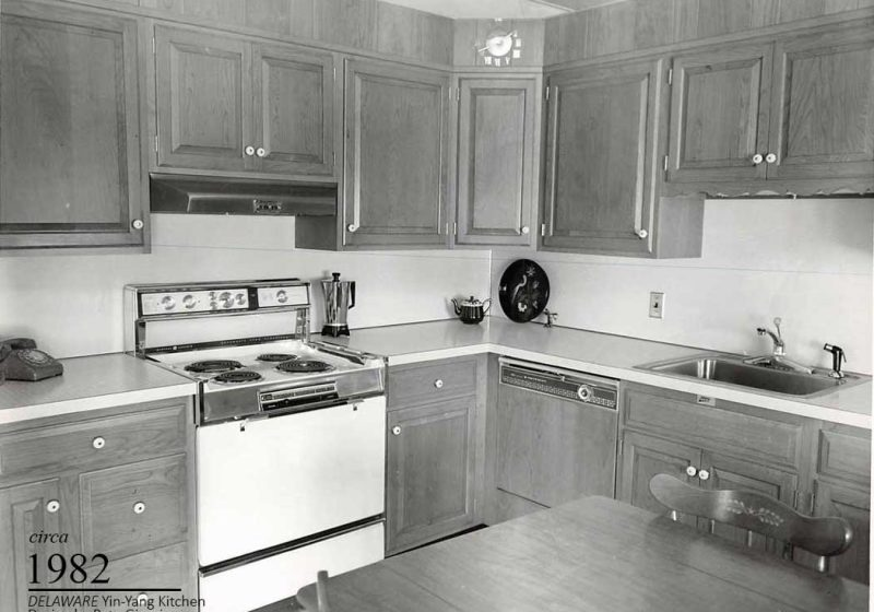 A vintage kitchen design built with enough room for the family dog to maneuver through easily.