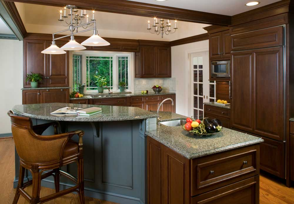 Traditional Cherry Cabinetry in a Traditional Kitchen, Dining Room with Blue Glazed Cabinets