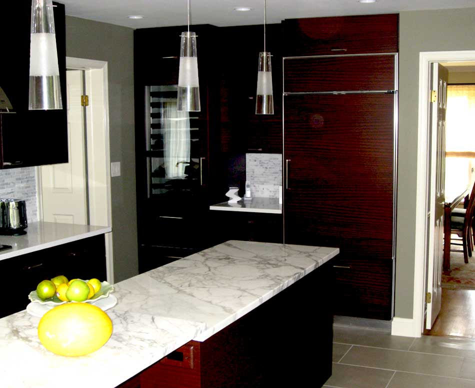 Grey And White Marble Countertops With Dark Wood Cabinets