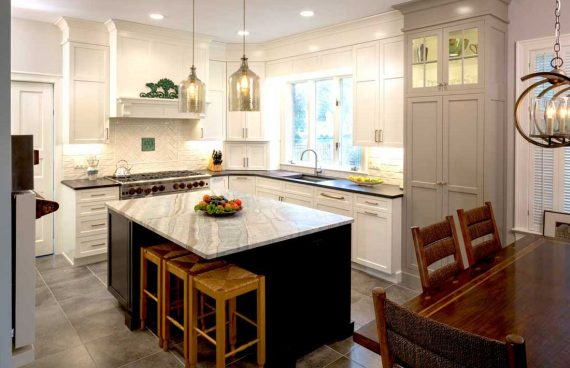 Kitchen design with a blue star range won first place in the blue star design contest