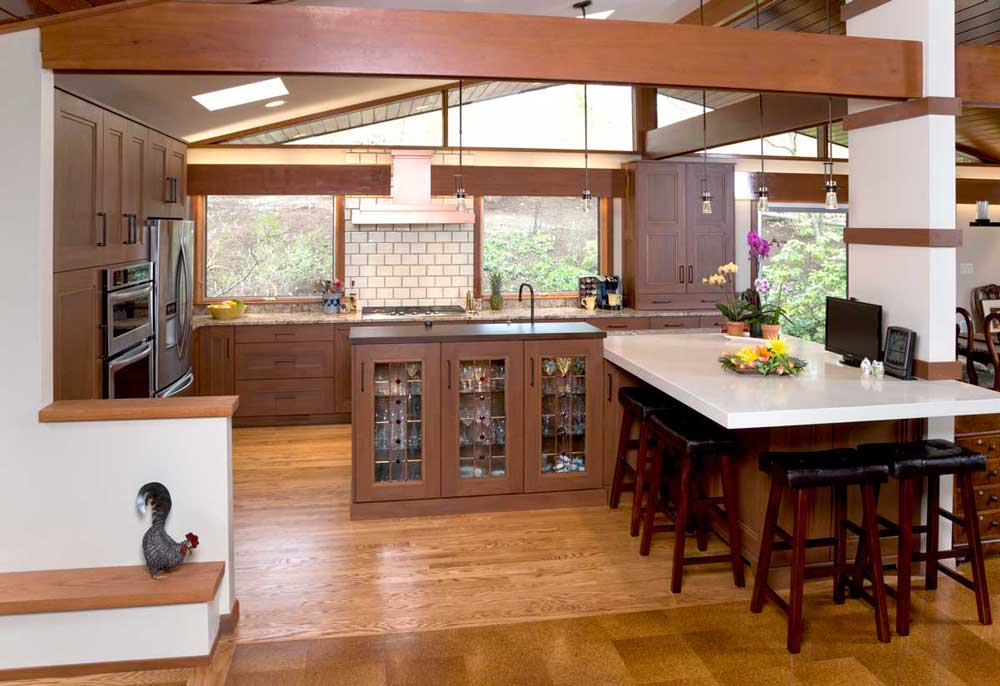 Modern Craftsman Kitchen with Wood Ceiling Beams and Mahogany Wood Cabinets with Bronze Cabinet Hardware