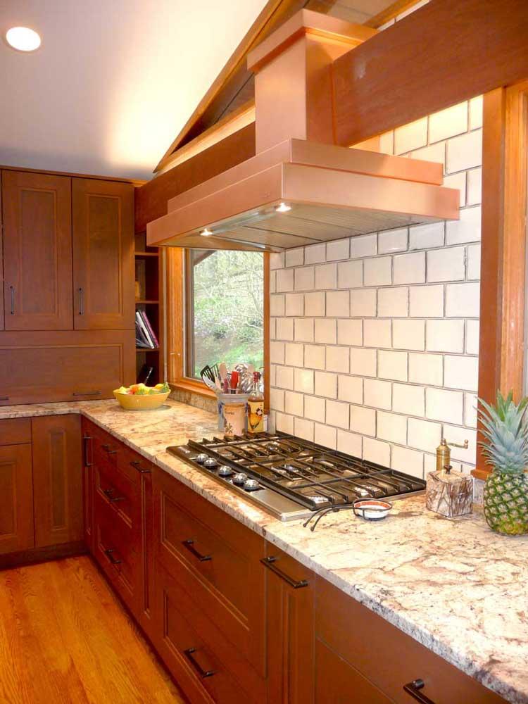 Modern Craftsman Kitchen With Copper Range Hood Above