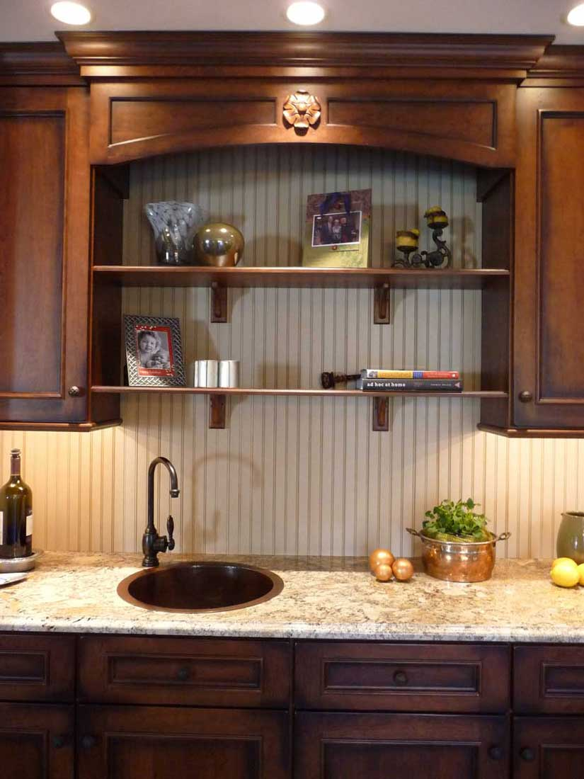 Traditional Kitchen with a Wet Bar and Bench Seat for a Family that Loved to Entertain