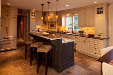 Traditional Kitchen Design with a Functional kitchen island with a prep sink and a bench seat