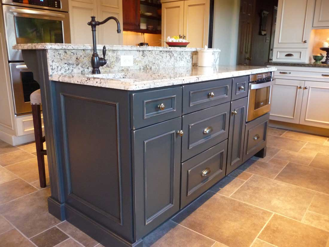 Blue Kitchen Island Cabinets for a Traditional Kitchen with a Welcoming Bench Seat in Wilmington, Delaware