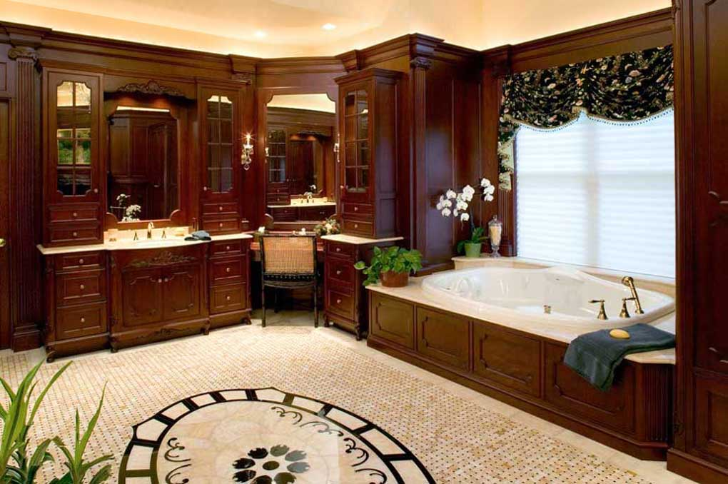 Large traditional master bath design with dark wood crown molding and white ceilings and tile floor