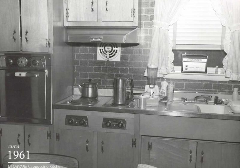 The highlight of a 1961 vintage kitchen is an exposed brick wall behind the sink area